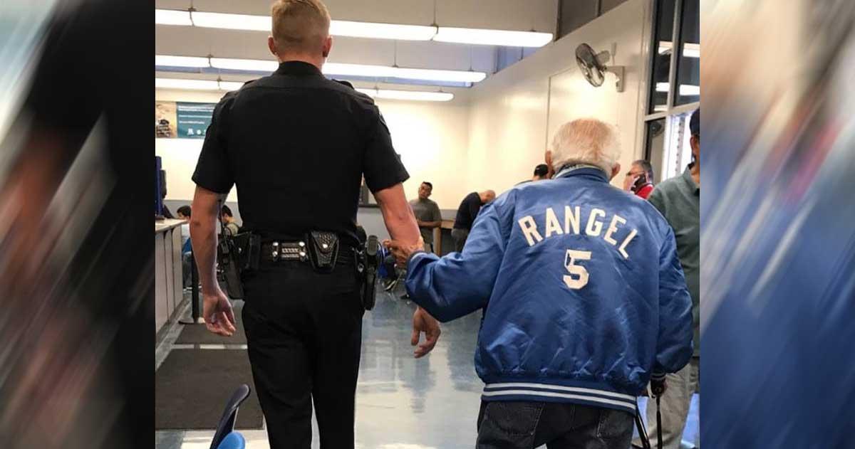 cop helps man in bank